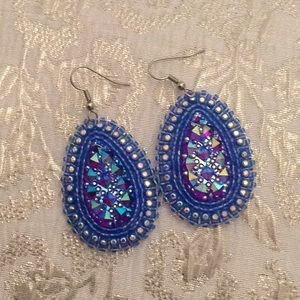 Native handcrafted beaded leather earrings